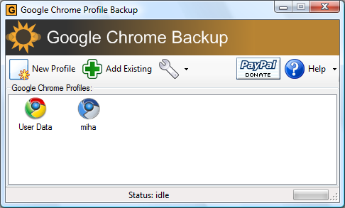 Chrome backup
